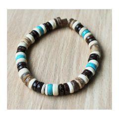 Armband cocoskralen met turkoois kleur kralen
