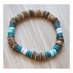 Armband cocoskralen met blauw-groen-witte kralen, 19-20cm