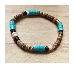 Armband turkooiskleur en cocoskralen, 18cm