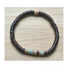 Armband donkerbruine cocos kralen met souchan rondel kralen, 20cm