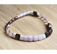 Armband Tila, roze,  paars, wit en lila