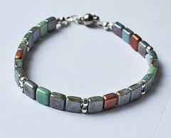 Armband Tila kraaltjes blauw, nikkel, koper en groen