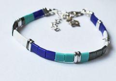 Armband Miyuki tila blauw/wit/turkoois