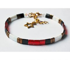 Armband Miyuki tila rood/wit/zwart/koper