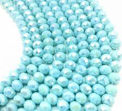 Snoer facetgeslepen glaskralen zacht blauwe kleur met luster, 6x4mm.