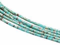 Kraal rondel Jaspis zeesediment lichtgroen 6x3mm, per 10 stuks.