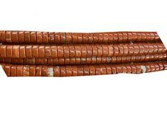 Kraal rondel Jaspis roodbruin 6x3mm, per 10 stuks.