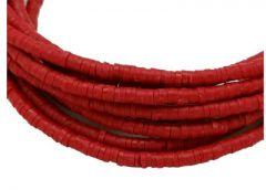 Snoer Katsuki of polymeer klei kralen rood-roodbruin 6x2-1.5mm