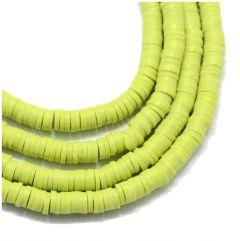 Snoer Katsuki of polymeer klei kralen groen/geel 6x1,5mm
