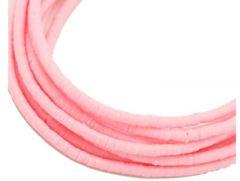 Snoer Katsuki of polymeer klei kraaltjes roze, 6x1-1.5mm.