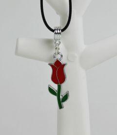 Halsketting met rode tulp hanger