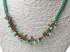 Halsketting Turkoois Groene en koper kraaltjes