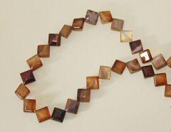 Kraal Agaat koffiekleurige vierkantjes,  10mmx10mm