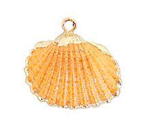 Hanger Kokkel schelp zacht oranje met goudkleurige rand. Per stuk.