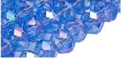 Snoer facetgeslepen rondel 6x4mm helder lichtblauw met glans