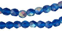 Glaskraal facetgeslepen donker kobaltblauw met AB coating, 6mm. Per 10 stuks.