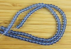 Snoer glaskraal rond blauw 4mm.