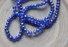 Zakje facetgeslepen kralen opaque korenbloem blauw AB 3x2mm. 80 stuks.
