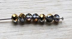 Snoer facetgeslepen kristal kralen half goud plated 4x3mm.