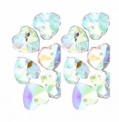 Glaskraal hartje kristal met AB coating 14x15x7. Per stuk.