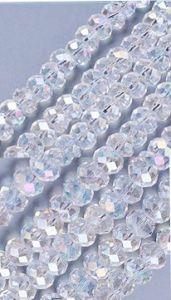 Snoer facetgeslepen kristalkralen met AB coating, 8x6mm.