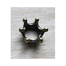 Metalen kraal Kroontje oudbronskleur. Per stuk.