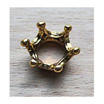 Metalen kraal Kroontje in goudkleur. Per stuk.