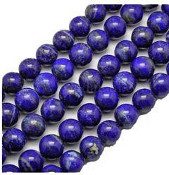 Klein snoer Lapis Lazuli kralen 8mm. 20 kralen.