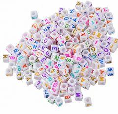 Zakje acryl witte letterkralen 6-7mm, 100 st.
