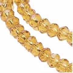Snoer glaskralen facetgeslepen rondel 6x4mm goud-gele kleur