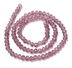 Snoer licht roze-amethist 4mm