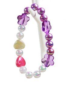 Kinderarmband lila wit en kleurtjes