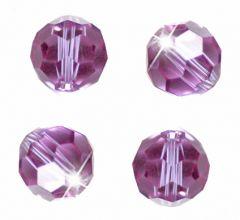 Glaskraal facetgeslepen heel licht roze/ violet 6mm AAA kwaliteit.