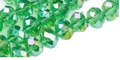 Snoer facetgeslepen licht groene glaskralen, 8x6mm. met AB color plating.