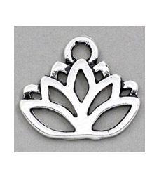 Bedel Lotus, zilverkleurig, 17x14mm. Per stuk.