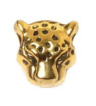Metalen kraal Luipaard kop goudkleurig 10x10mm.