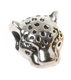 Metalen kraal Luipaard kop zilverkleurig 10x10mm