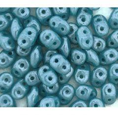 Zakje superduo glaskralen opaque white blue luster, 10 gram