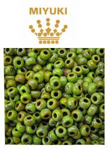 Rocailles 6/0 miyuki opaque chartreuse picasso, 10 gram