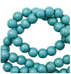 Keramiek kralen Ocean blue turkoois kleur 6mm. Per 5 stuks