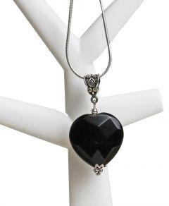 Verzilverde ketting met obsidiaan hartje hanger