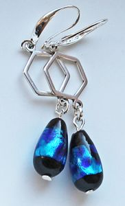 Oorbellen druppel lampwork shiny blauw