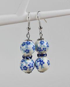 Oorbellen kleine blauwe bloempjes