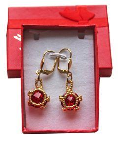 Oorbellen Rivoli Siam rood, in cadeau doosje