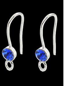 Set oorhaken silverplated met blauw kraaltje