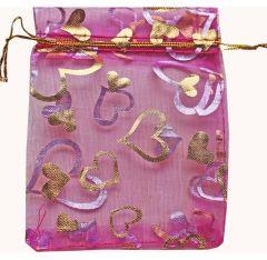 Organza kado zakjes 12x10 cm transparant lila/roze, 10 stuks