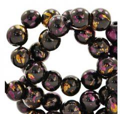 Glaskralen zwart met goud en aubergine 6mm. Per 50 stuks.