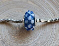 Pandora style kraal blauw met stippeltjes