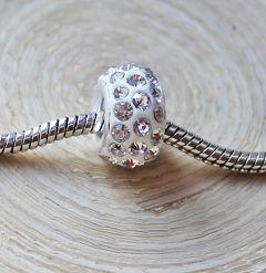 Pandora style kraal wit met kristal