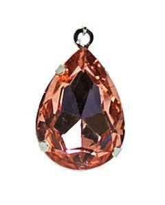 Hanger peervormig facetgeslepen rozerood glas 25x20mm